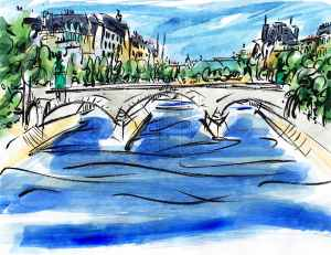 Pont du Carrousel Paris France Barbara Redmond Travel fine art painting River Seine