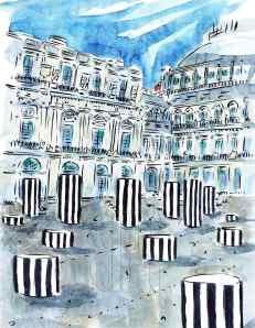 Palais Royal Paris France Barbara Redmond fine art paintings of Paris Didier Ludot Galerie Montpensier Le Gran Véfour