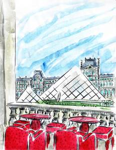 Pyramids Louvre Paris France Barbara Redmond Cafe Marly Georges restaurant Paris fashion week Tuileries Gardens