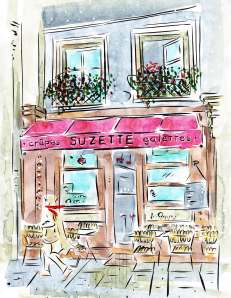 Crêpes Suzette Paris France Barbara Redmond fine art paintings of  Paris Mardi Gras Keda Black