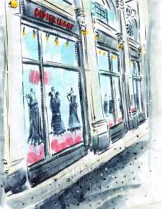 Didier Ludot Little Black Dress shop Paris France Barbara Redmond fine art paintings of Paris