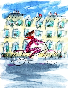 Parisian woman on bicycle, by Barbara Redmond