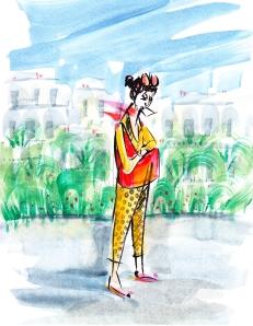 France Paris woman handbag fine art painting impressionist
