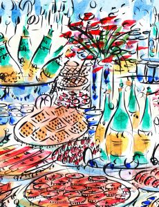Paris champagne table, by Barbara Redmond
