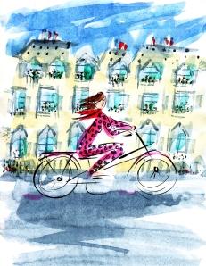 Woman on Bicycle, Paris, by Barbara Redmond