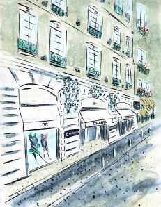 Chanel Boutique 31, rue Cambon, Paris by Barbara Redmond fine art paintings of Paris