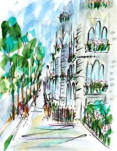 Avenue Montaigne, Paris by Barbara Redmond, France, Fine art paintings of Paris