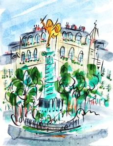 Place de la Bastille, Paris by Barbara Redmond France Paris Metro fine art paintings of Paris