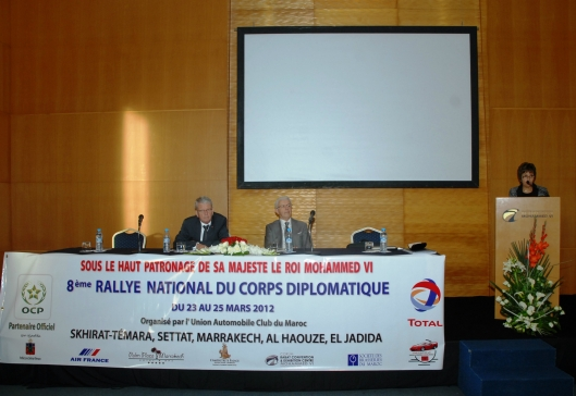 From left to right: their Excellences Ambassadors of Netherlands and Italy, and Dr. Fatima Araki during the briefing of the 2012 rally celebrating the Moroccan-Dutch friendship during the Diplomatic Body Rally