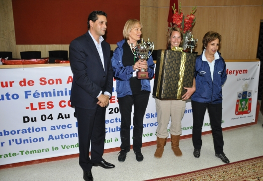The French team, winner of the 9th edition of the Rally des Colombes, here with the Governor of the Témara prefecture and Dr. Fatima Araki, organizer